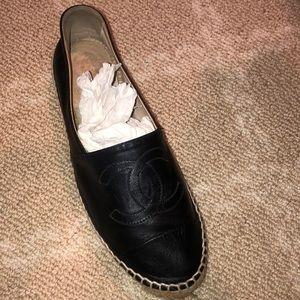 Authentic chanel black leather espadrille
